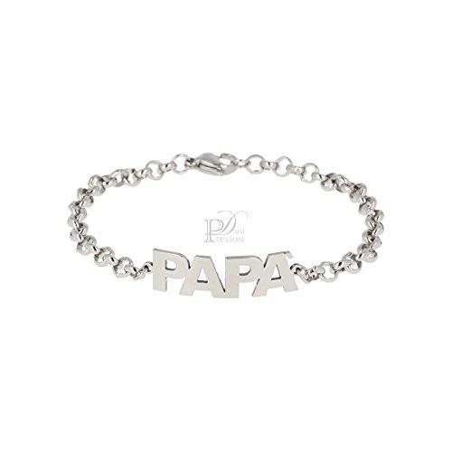 Bracciale con scritta papà con incisioni personalizzati in acciaio lucido