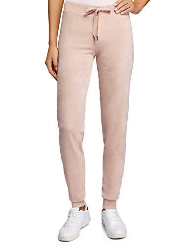 Oodji ultra donna pantaloni sportivi in velluto con laccetti, rosa, it 48 / eu 44 / xl