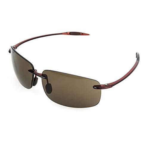 LKVNHP Hohe Qualität (10G) Nylon Objektiv Polarisierte Sonnenbrille Für Männer Fahren Sonnenbrille Tr90 Randlose Uv400 Braun Schwarz Brillen Schwarz BraunBraun