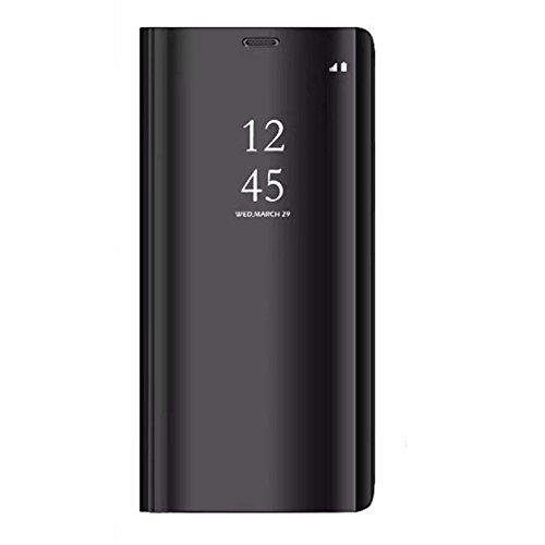 Xiaomi Redmi 5 Plus Funda, Flip Carcasa - Modelo Inteligente Fecha y Espejo Brillante Tirón del Duro Case, Espejo Plegable en Reflectante para Xiaomi Redmi 5 Plus (Negro)