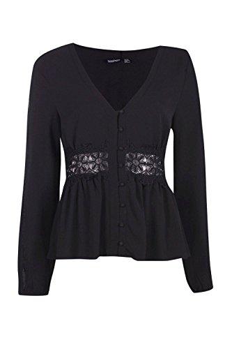 Bouton Version Noire Femmes Maria Crochet + Ladder Par Blouse Noir