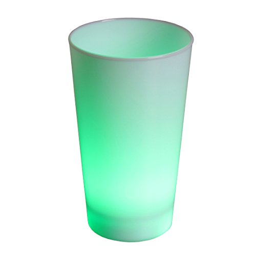 Rattan4Life Bella casa Glas Becher Leuchtbecher 450 ml LED Farbwechsel bunt RGB mit Batterie wechselbar Bar Kunststoff beleuchtetes Trinkglas Cocktail (Farbwechsel Becher Kunststoff)