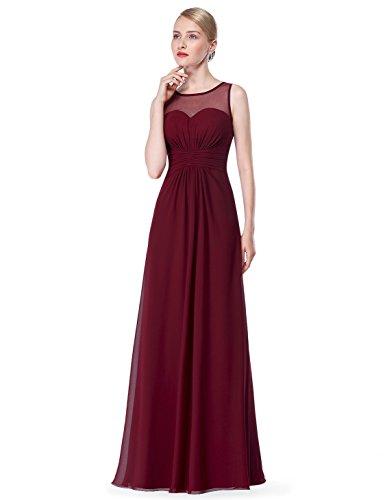 Ever Pretty Damen Elegant Lang Abendkleid Brautjungfernkleid Maxikleider 08761 Burgundy