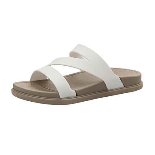 Chanclas Mujer Verano,Señoras verano playa zapatillas de baño casual cuña sandalias mujeres zapatos LMMVP (35(EU), Blanco)