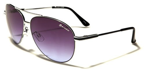 Occhiali da Sole Oxygen Aviator - Moda - Stile - Fashion - Glamour - Moto - Retro - Vintage - Spiaggia / Mod. Miami Argento Nero Viola