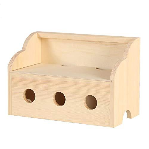 JCNFA Kabelführungsbox Aus Holz, Power Plug Wire Aufbewahrungsbox Überspannungsschutz Abnehmbarer Bezug Aufladen des USB-Datenkabeltelefons (3 Löcher, 4 Farben) -