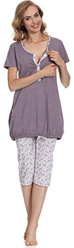 Be Mammy Damen Stillpyjama BE20-128 (Melange/Weiß, L)
