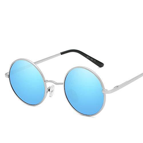Easy Go Shopping Vintage Style Classic Fashion Runder Rahmen UV-Schutz Polarisierte Unisex-Sonnenbrille Sonnenbrillen und Flacher Spiegel (Color : Blau, Size : Kostenlos)