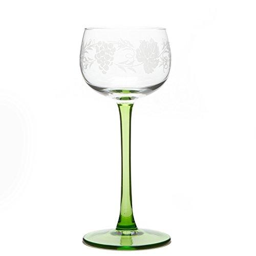 6 Verres à Vin d'Alsace motif GRAPPE