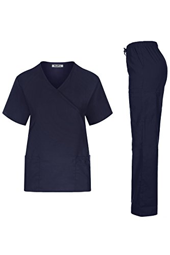 MedPro Women's Solid Medical Scrub Set Mock Wrap Top and Cargo PantsÂ