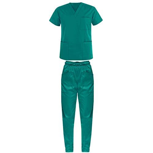 Promo - divisa verde ospedaliero unisex sanitaria ospedaliera casacca e pantalone, 100% cotone infermiere, oss, medico, spedizione 24/48h a casa tua (m)