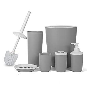Hoomtaook 6tlg BADSET Badezimmer ZUBEHÖR Set Badzubehör Bad Badezimmer Ungiftiger PP-Kunststoff Grau