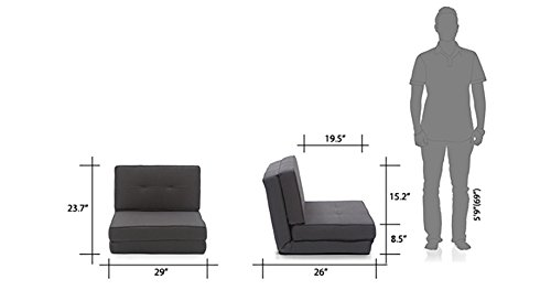 wholesale dealer fd96b 526d5 Urban Ladder Desso Futon Floor Folding Adjustable One Seater Fabric Sofa  Cum Bed (Grey)