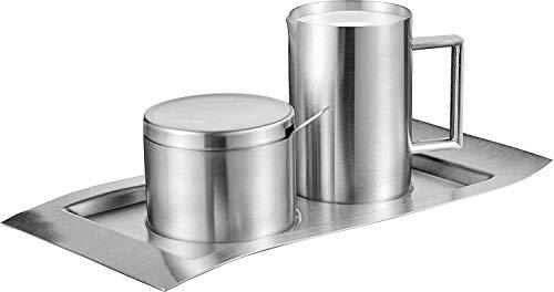 Esmeyer Zucker-& Milchset Wave 5-TLG, Edelstahl, Silber 26.3 x 15 x 7.6 cm