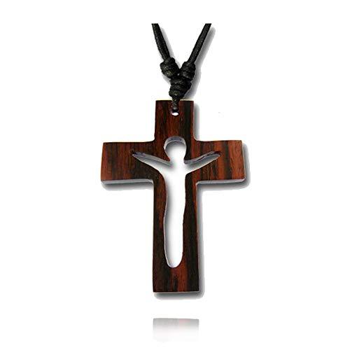 viva-adorno Kreuz Anhänger Holzkreuz Halskette Holz Kruzifix Jesus Kreuzkette Baumwollband Länge verstellbar HK36.D1