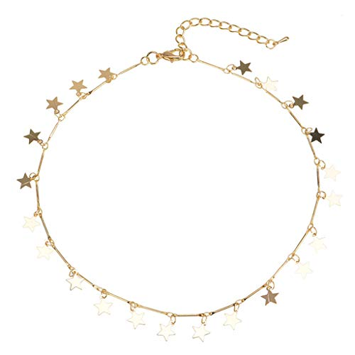 Mypace Anhänger Gold Silber 925 Für Damen Lucky Star Choker Halskerin Pendant Disc Chain Statement Necklace Frauen Mädchen