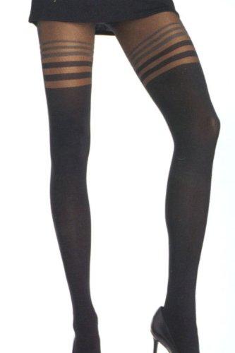 Leg Avenue - Blickdichte Lycra-Strumpfhose mit transparenten Streifen - One Size - Schwarz - 7811 (Schwarze Strumpfhose Eine Leg)
