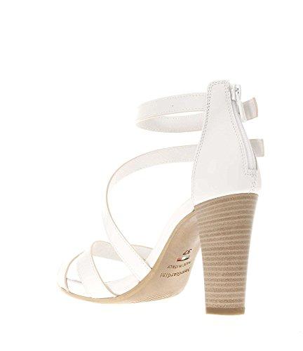 Nero Giardini Donna Sandali tacco P717580D-707 Sandalo fasce legato caviglia Bianco