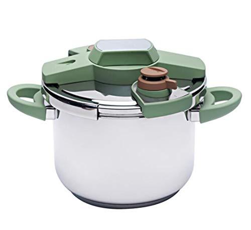 XGHW Große kapazität Edelstahl schnellkochtopf Slow Cooker Haushalt induktionsherd gasherd küche Kochen universal 4L / 6L (Color : Green, Size : 4L) (Pot Crock Und Schnellkochtopf)