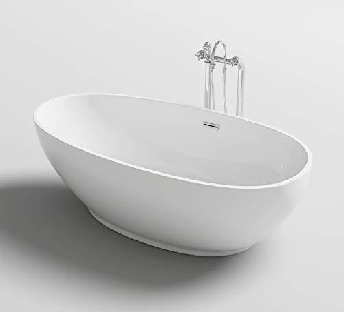 Vasca da bagno freestanding bianca moderna 180x90x58 cm roxie