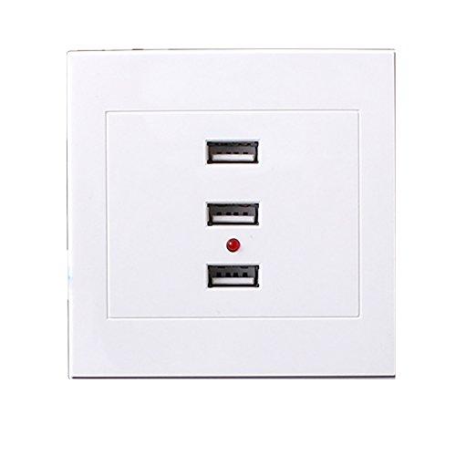 Balai 5V/ 2.1A 3 USB Wand Buchse Anschlüsse Steckdose Ladegerät Elektrische Platte Steckdose 86mm×86mm Weiß