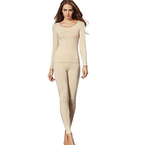 Liang Rou Damen mit Rundhalsaußchnitt Stretch dünnes Unterwäsche Set, Oberteile und Unterhosen (Damen Rib Jacquard)