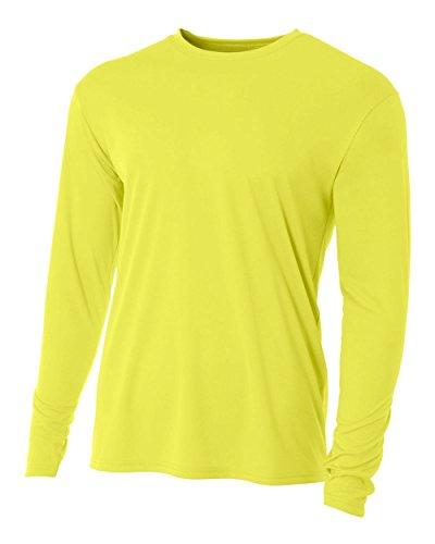 A4 Herren Asymmetrischer Langarmshirt Gelb - Safety Yellow