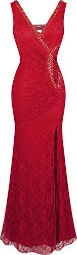 Angel-fashions Damen V-Ausschnitt Spitze Teilt Gekräuselt Bördeln Mantel Hochzeitskleid (XL, rot)