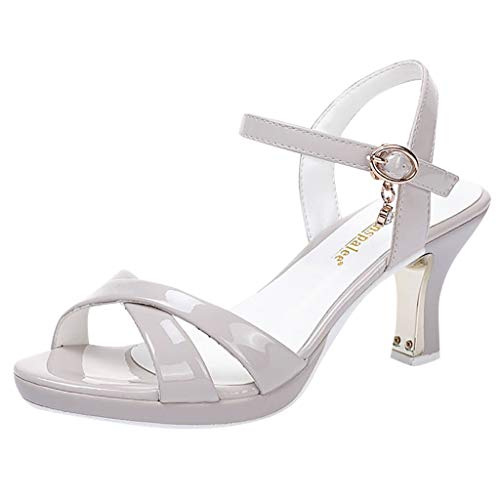 Sandalen Damen Sommer High Heels Frauen Zehentrenner, ZZIXAN Sandaletten Damen Mit Absatz Patent Leather Pumps Sexy Wedding Party Shoes (38 EU, Grau) -