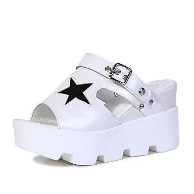 LQXZM Frauen Heels Sandaletten Komfort pur Frühling Sommer Herbst Casual niedrigem Absatz Weiss Schwarz Silber Grau unter 1 in White