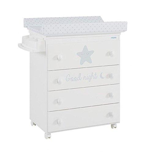 Micuna Estrella - Bañera cambiador y tapizado, unisex, color blanco y gris