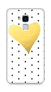 AMEZ designer printed 3d premium high quality back case cover for Huawei Honor 5C (polka dot gold heart)