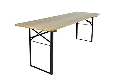 Klappbarer Picknicktisch, Biertisch, hergestellt aus Fichtenholz versehen von Klarlack, 200 x 70 cm – FSC Gütezeichen