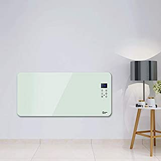 2500W Electric Panel Heater,Digital LCD Display,24 Hour 7 Day Timer With Thermostat, Remote Control,Wall Mounted & Free Standing,IP24 Rated Bathroom Safe - Low Energy Convection Radiator- White,Glass