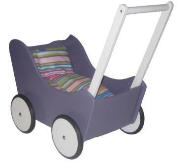 Puppenwagen Lauflernwagen lila mit Bremse und gestreifter Bettwäsche aus lackiertem Holz