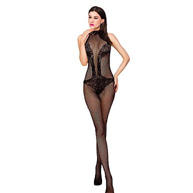 e Nachtwäsche,Sexy Spitze Jacquard-Nylon Elasthan , black , one-size (Sexy Damen Anzüge)