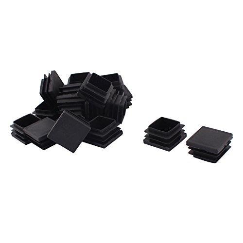 DealMux Jambes Meubles de Plastique Chaise Table Base Plane Tube carré Tuyau Embouts Caps 32 mm x 32 mm 20pcs Noir