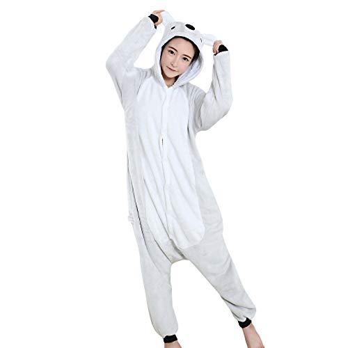 DUKUNKUN Erwachsene Pyjamas Koala Pyjamas Kostüm SAMTGrau Cosplay Für Tier Nachtwäsche Cartoon Halloween Festival/Urlaub / Weihnachten,L