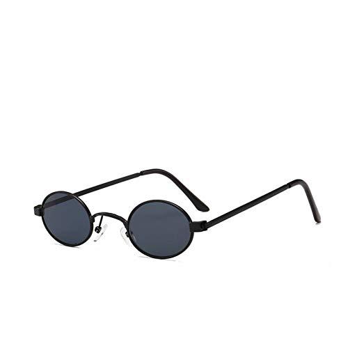 CHJKMN Nette reizvolle Retro kleine ovale Sonnenbrille-weibliche Art- und Weisegoldschwarze Retro Weinlese-Sonnenbrille-weibliche rote Gläser