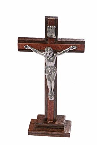 Freistehendes Holzkruzifix 20 cm hoch Traditionelles katholisches Kruzifix. Freistehendes Kreuz. Stehkreuz Kruzifix Holzkruzifix auf Ständer.