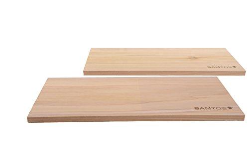 Premium Räucherbretter XXL 2 Stück aus Zedernholz - 40cm x 17,5cm x 1,4cm - Mehrfache Verwendbarkeit - Western Red Cedar Räucherbrett Räucherplanken
