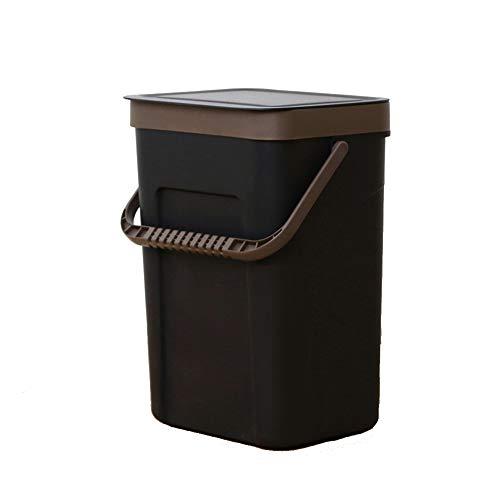 n Abfalleimer, Kreativ Küche Waschraum Wand montiert Schlag frei Mülleimer Mit Griff Abfallbehälter-Schwarz 5L ()