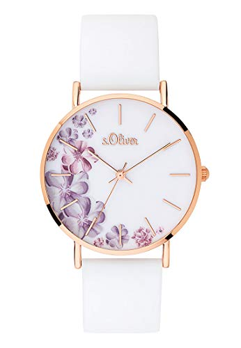 s.Oliver Damen Analog Quarz Uhr mit Silikon Armband SO-3706-PQ