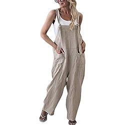 Minetom Femme Salopette Casual Large Ample Harem Sarouel Pantalon Combinaison Jumpsuit Chic Lin Poches Playsuit Overalls Rompers Abricot FR 44