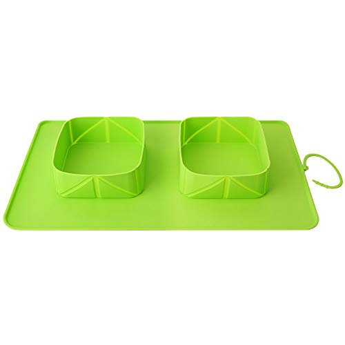 Pawaboo Pet Travel Food Bowls, Collapsible Roll Up Silicone Mat Dog Feeder Bowl with Secure Buckle, Portable Easy Storage Pet Feeding Accessories for Travel Camping Outdoors & More, Large Size, Green Rectangle Food Storage