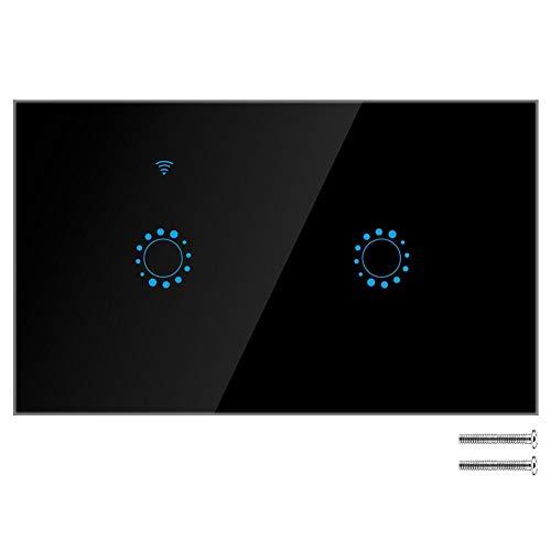 Interruptor táctil inalámbrico WIFI inteligente de 1/2 Gang, Interruptores de luz de...