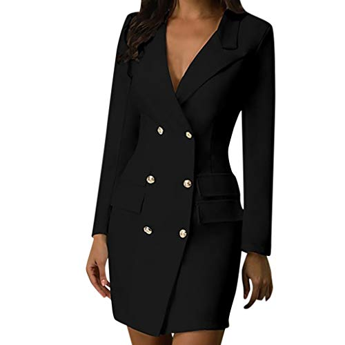 GOKOMO Damen Womens Zweireiher Knopfleiste Military Style Langes KleidFrauen Zweireiher schlank sexy Windjacke einfarbig dünnen Mantel Kleid(Schwarz,XX-Large)