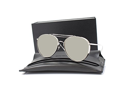 Polarized BIG BULLY Brand New Gentle Women Monster Mirrored Sunglasses-sliver frame sliver lens