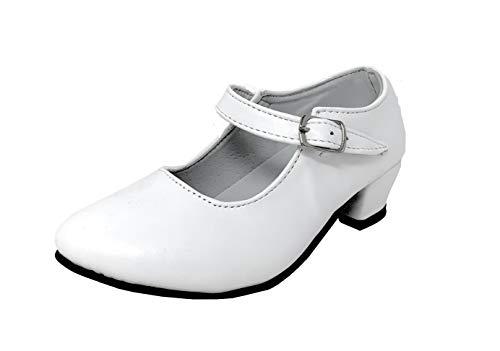 Zapato Flamenco Danza Baile Sevillanas niña Mujer Negro Blanco 32, Blanco