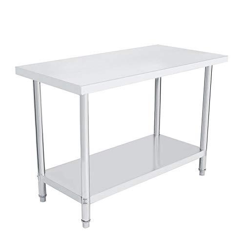 Tavolo di lavoro da cucina acciaio inox per bricolage tavolo da lavoro professionale 2 ripiani per cucina bar ristorante garage 122X61X85CM